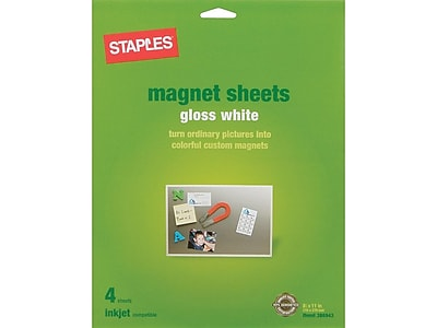 image regarding Printable Magnetic Sheets named Staples Magnetic Shiny Image Paper, 8.5\