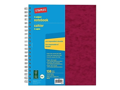 120 sheets Three Subject Roaring Spring Genesis Shades Wirebound Notebook 11x9 College Ruled Assorted Poly Covers