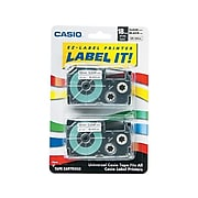 """Casio XR-18X2S Label Maker Tapes, 0.71""""W, Black On Clear, 2/Pack"""