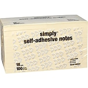 """Simply Standard Notes, 3"""" x 3"""" Yellow, 100 Sheets/Pad, 18 Pads/Pack (S-33-YW-18)"""