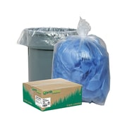 "Webster Industries Earthsense Clear Recycled Can Liners, 55 Gallons, 1.5 mil, Clear, 38"" x 58"", 100 Bags/Box (RNW5815C)"