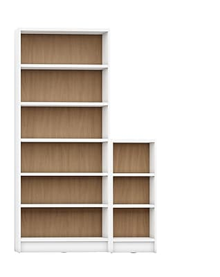 Manhattan Comfort Greenwich 2-Piece Bookcase with 9 Shelves, White and Maple Cream (2-160153160453)