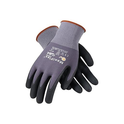 MaxiFlex Ultimate Nylon Nitrile Gloves, Black/Gray 12 Pairs/Pack (34-874/L)