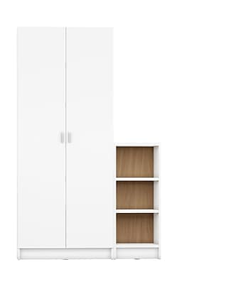Manhattan Comfort Greenwich 2-Piece Bookcase with 9 Shelves, White and Maple Cream (2-160553160453)