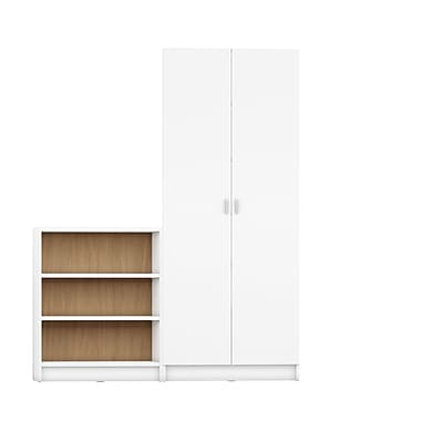 Manhattan Comfort Greenwich 2-Piece Bookcase with 9 Shelves, White and Maple Cream (2-160353160553)
