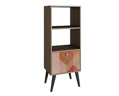Accentuations by Manhattan Comfort Sami Double Bookcase in Oak / Stamp / Grey (2AMC127) 2436447