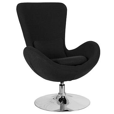Chaise d'appoint salon-réception de série Œuf tissu noir (CH-162430-BK-FAB-GG)