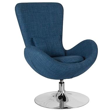 Chaise d'appoint salon-réception de série Œuf en tissu bleu (CH-162430-BL-FAB-GG)