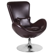 Brown Leather Egg Series Reception-Lounge-Side Chair (CH-162430-BN-LEA-GG)