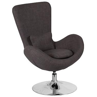 Chaise d'appoint salon-réception de série Egg en tissu gris foncé (CH-162430-DKGY-FAB-GG)