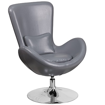 Gray Leather Egg Series Reception-Lounge-Side Chair (CH-162430-GY-LEA-GG)