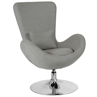 Light Gray Fabric Egg Series Reception-Lounge-Side Chair (CH-162430-LTGY-FAB-GG)