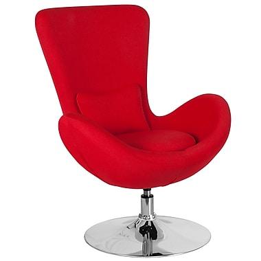Chaise d'appoint salon-réception de série Egg en tissu rouge (CH-162430-RED-FAB-GG)