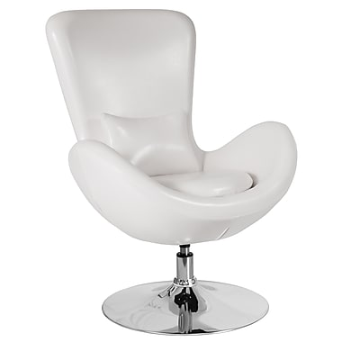White Leather Egg Series Reception-Lounge-Side Chair (CH-162430-WH-LEA-GG)