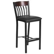 Eclipse Series Vertical Back Black Metal and Walnut Wood Restaurant Barstool with Black Vinyl Seat (XU-DG-60618B-WAL-BLKV-GG)