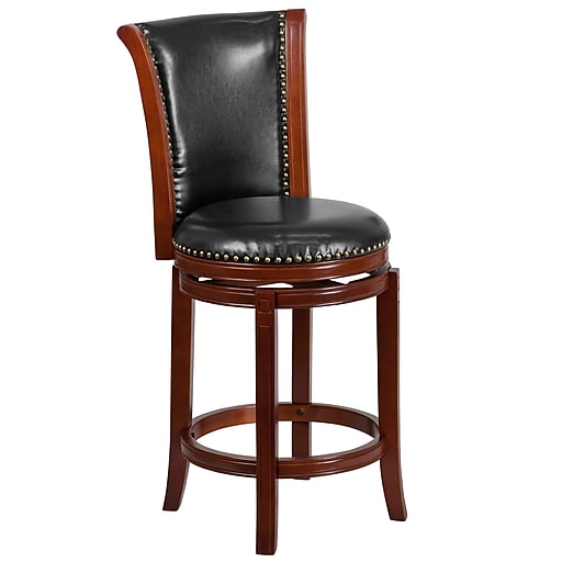 26'' High Dark Chestnut Wood Counter Height Stool with Black Leather Swivel Seat (TA-220126-DC-CTR-GG)