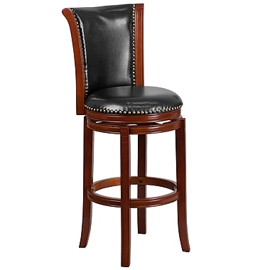 30'' High Dark Chestnut Wood Barstool with Black Leather Swivel Seat (TA-220130-DC-GG)
