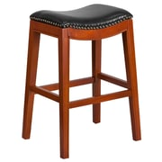 30'' High Backless Light Cherry Wood Barstool with Black Leather Seat (TA-411030-LC-GG)