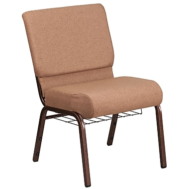 21'' Wide Caramel Fabric Church Chair with 4'' Thick Seat, Cup Book Rack, Copper Vein Frame [FD-CH0221-4-CV-BN-BAS-GG]