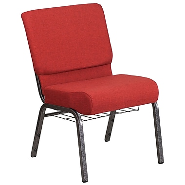 21'' Wide Red Fabric Church Chair with 4'' Thick Seat, Cup Book Rack, Silver Vein Frame [FD-CH0221-4-SV-RED-BAS-GG]