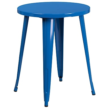 24'' Round Blue Metal Indoor-Outdoor Table (CH-51080-29-BL-GG)