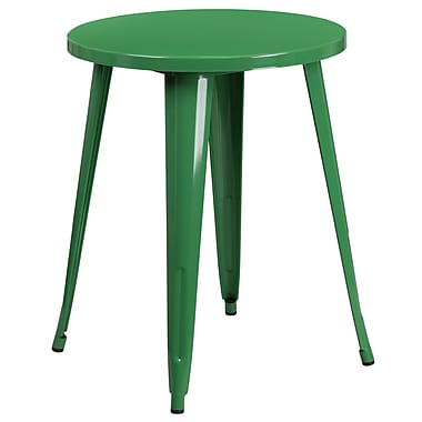 24'' Round Green Metal Indoor-Outdoor Table (CH-51080-29-GN-GG)