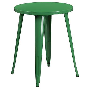 Table ronde de 24 po en métal vert pour intérieur/extérieur (CH-51080-29-GN-GG)