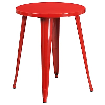 24'' Round Red Metal Indoor-Outdoor Table (CH-51080-29-RED-GG)