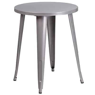 24'' Round Silver Metal Indoor-Outdoor Table (CH-51080-29-SIL-GG)
