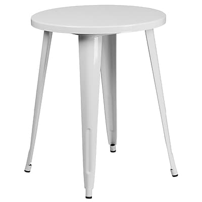 24'' Round White Metal Indoor-Outdoor Table (CH-51080-29-WH-GG)