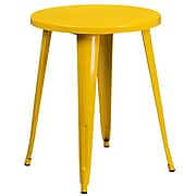 24'' Round Yellow Metal Indoor-Outdoor Table (CH-51080-29-YL-GG)