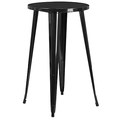 24'' Round Black Metal Indoor-Outdoor Bar Height Table (CH-51080-40-BK-GG)