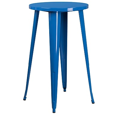 24'' Round Blue Metal Indoor-Outdoor Bar Height Table (CH-51080-40-BL-GG)