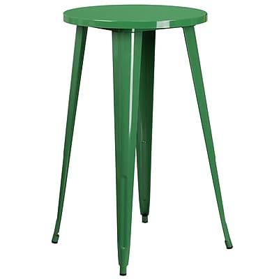 24'' Round Green Metal Indoor-Outdoor Bar Height Table (CH-51080-40-GN-GG)