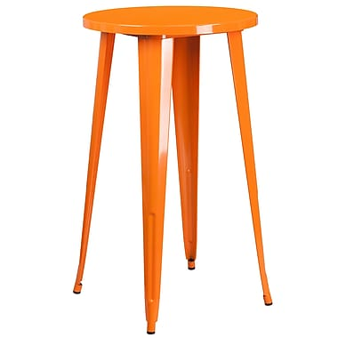 24'' Round Orange Metal Indoor-Outdoor Bar Height Table (CH-51080-40-OR-GG)