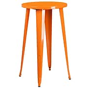 24'' Round Orange Metal Indoor-Outdoor Bar Height Table [CH-51080-40-OR-GG]