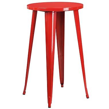 Table ronde 24 po en métal rouge à hauteur de bar, intérieur/extérieur (CH-51080-40-RED-GG)