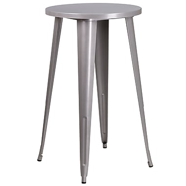 24'' Round Silver Metal Indoor-Outdoor Bar Height Table (CH-51080-40-SIL-GG)