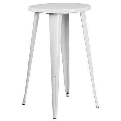 24'' Round White Metal Indoor-Outdoor Bar Height Table (CH-51080-40-WH-GG)