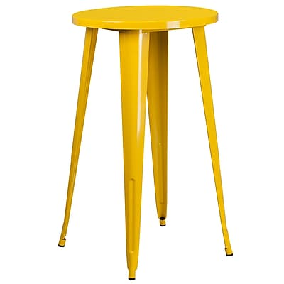 24'' Round Yellow Metal Indoor-Outdoor Bar Height Table (CH-51080-40-YL-GG)