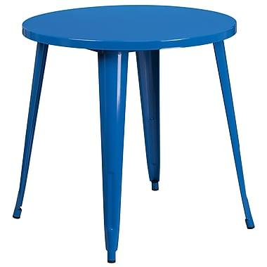 Table ronde de 30 po en métal bleu pour intérieur/extérieur (CH-51090-29-BL-GG)