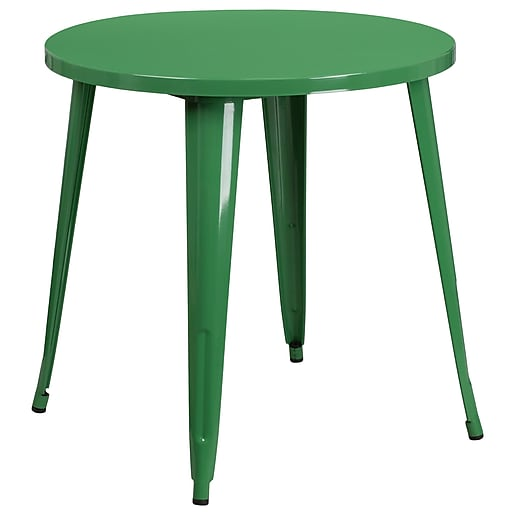 30'' Round Green Metal Indoor-Outdoor Table (CH-51090-29-GN-GG)
