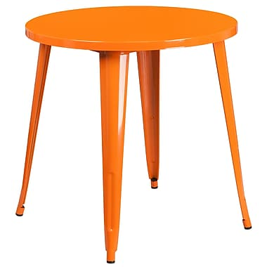 30'' Round Orange Metal Indoor-Outdoor Table (CH-51090-29-OR-GG)
