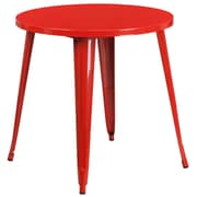 30'' Round Red Metal Indoor-Outdoor Table (CH-51090-29-RED-GG)