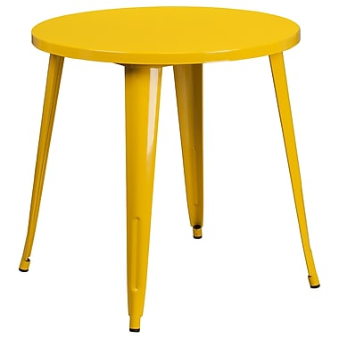 30'' Round Yellow Metal Indoor-Outdoor Table (CH-51090-29-YL-GG)