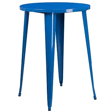 30'' Round Blue Metal Indoor-Outdoor Bar Height Table (CH-51090-40-BL-GG)