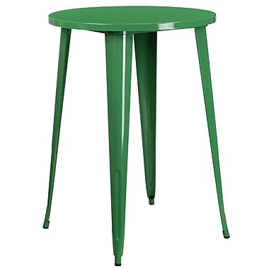 30'' Round Green Metal Indoor-Outdoor Bar Height Table (CH-51090-40-GN-GG)