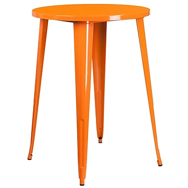 30'' Round Orange Metal Indoor-Outdoor Bar Height Table (CH-51090-40-OR-GG)
