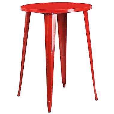 Table ronde 30 po en métal rouge à hauteur de bar, intérieur/extérieur (CH-51090-40-RED-GG)