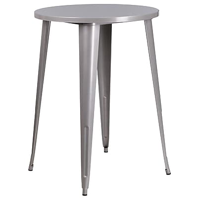 30'' Round Silver Metal Indoor-Outdoor Bar Height Table (CH-51090-40-SIL-GG)